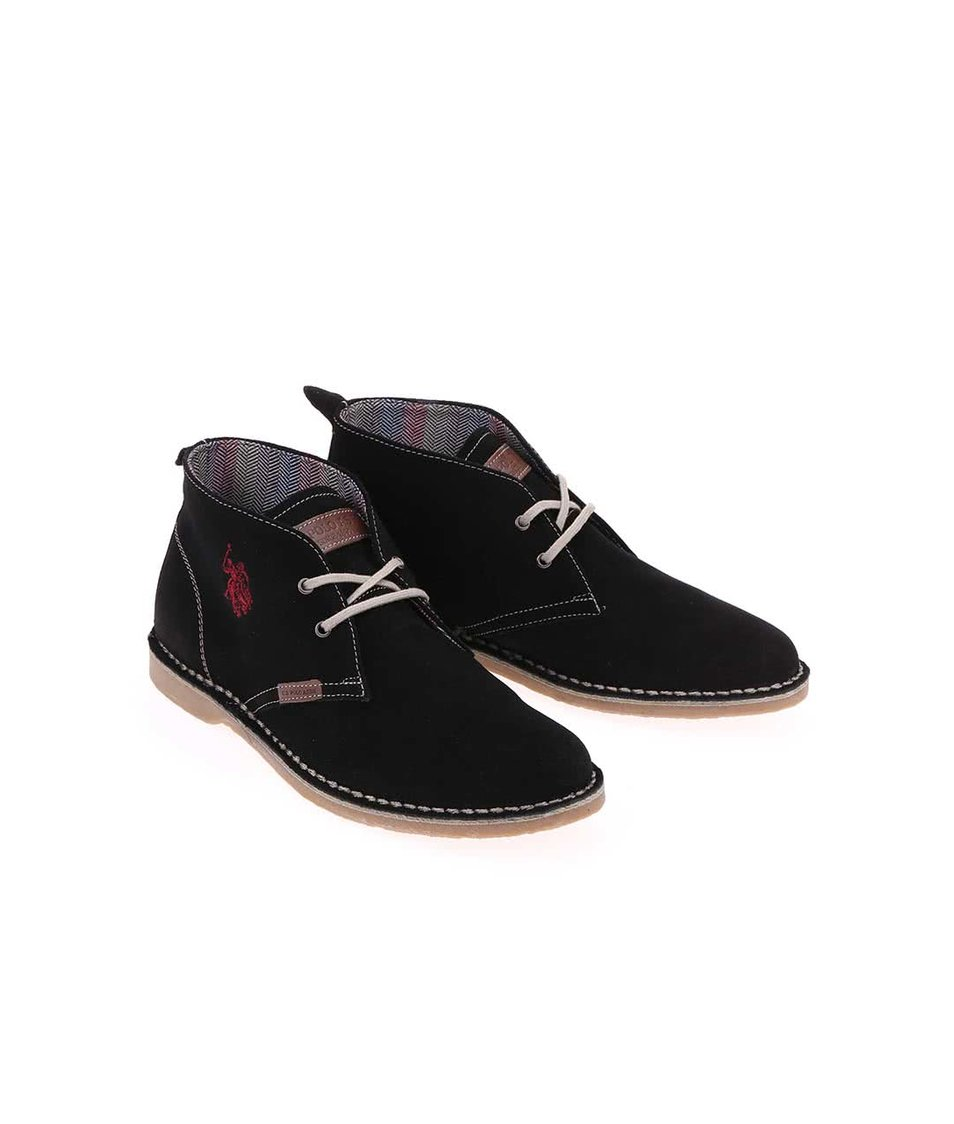 Černé dámské kožené boty U.S. Polo Assn. Glenda3