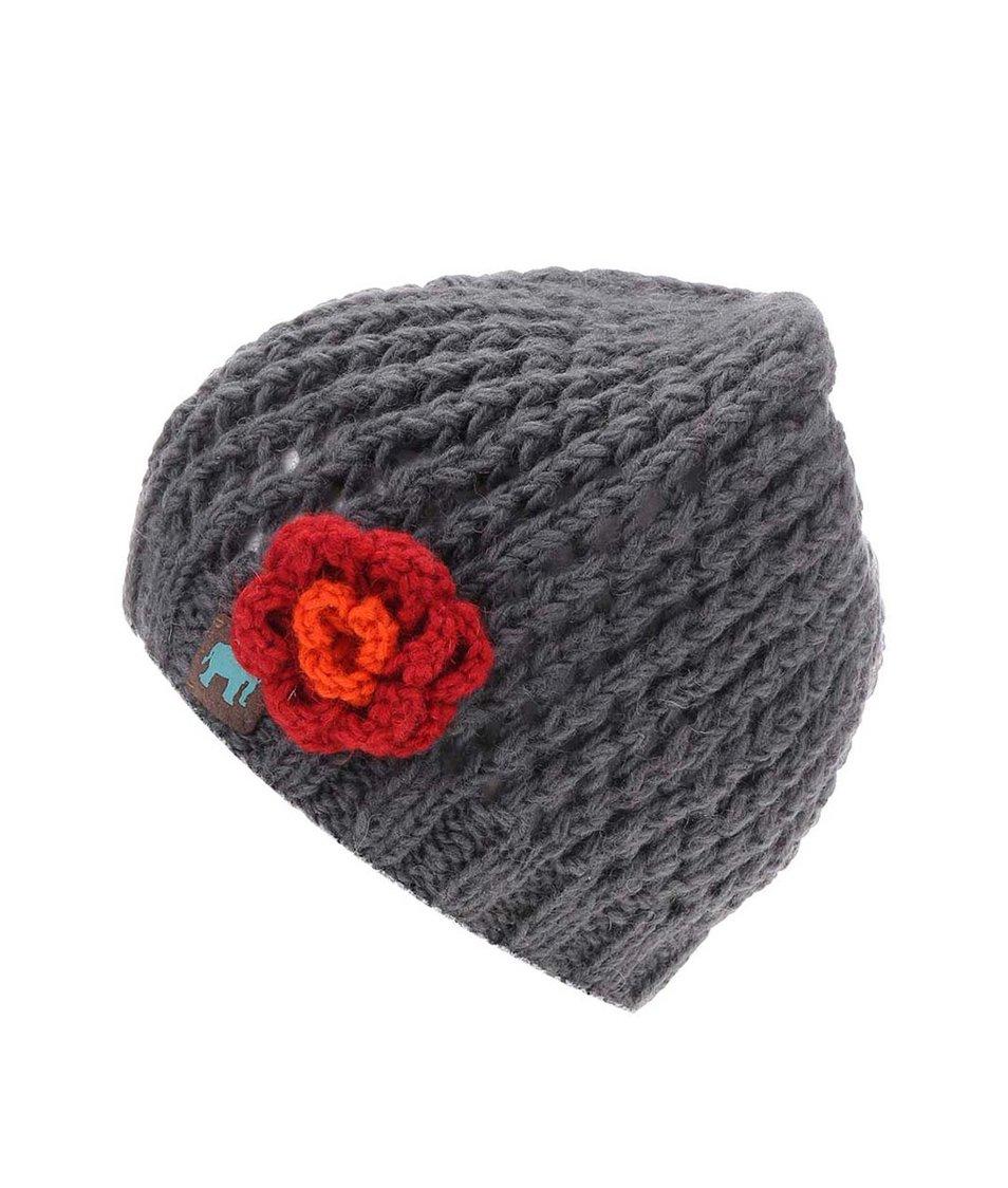Šedá pletená čepice s kytkou Tranquillo Igai