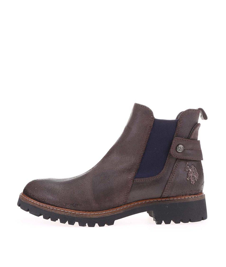 Tmavě hnědé dámské kožené chelsea boty U.S. Polo Assn. Manon