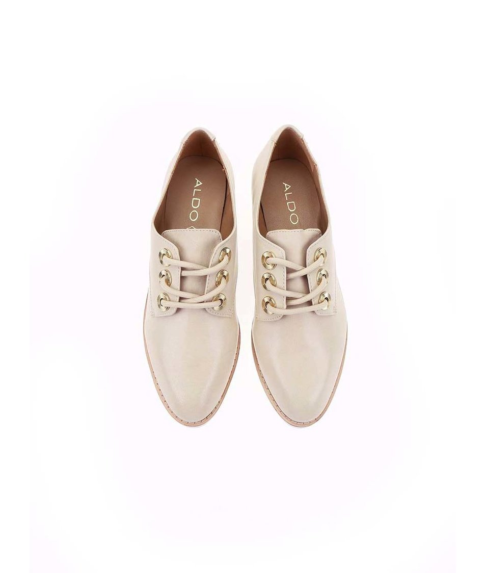 Krémové kožené boty na vyšší podrážce ALDO Brirani