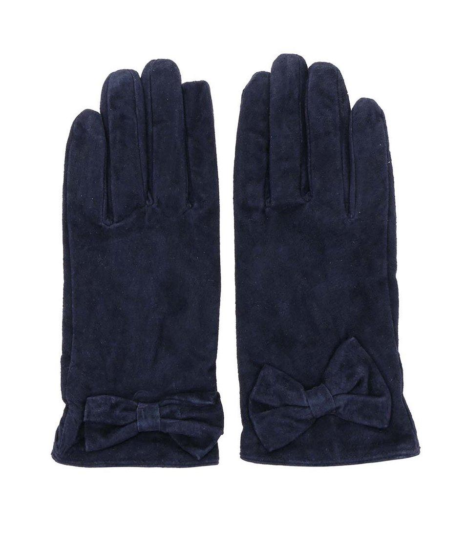 Tmavě modré kožené rukavice s mašličkou Pieces Comet