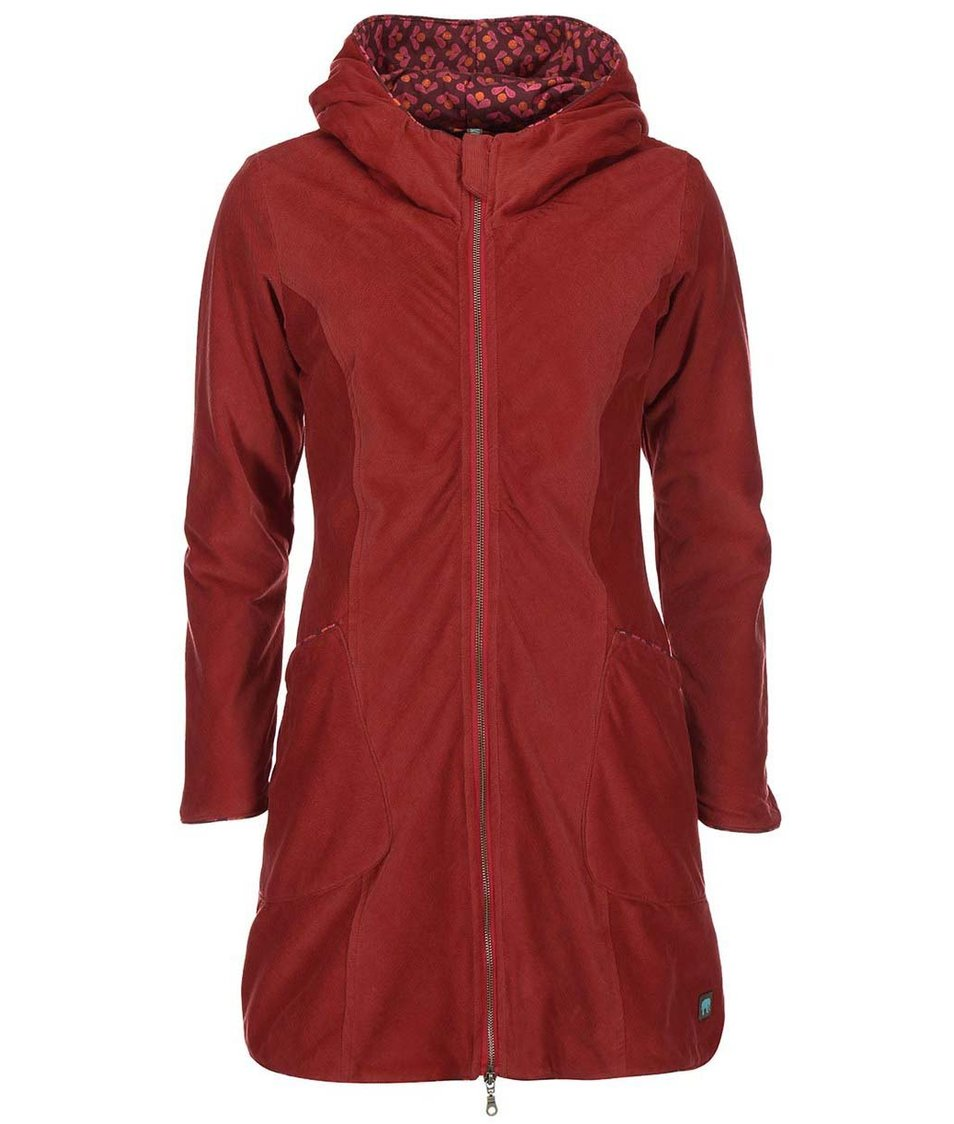 Červený manžestrový kabát s kapucí Tranquillo Eira