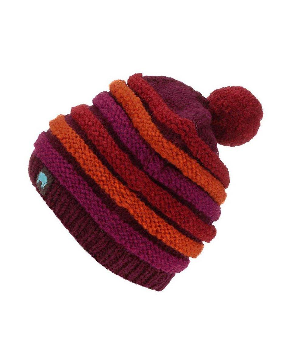 Červeno-fialová pletená pruhovaná čepice s bambulí Tranquillo Amun