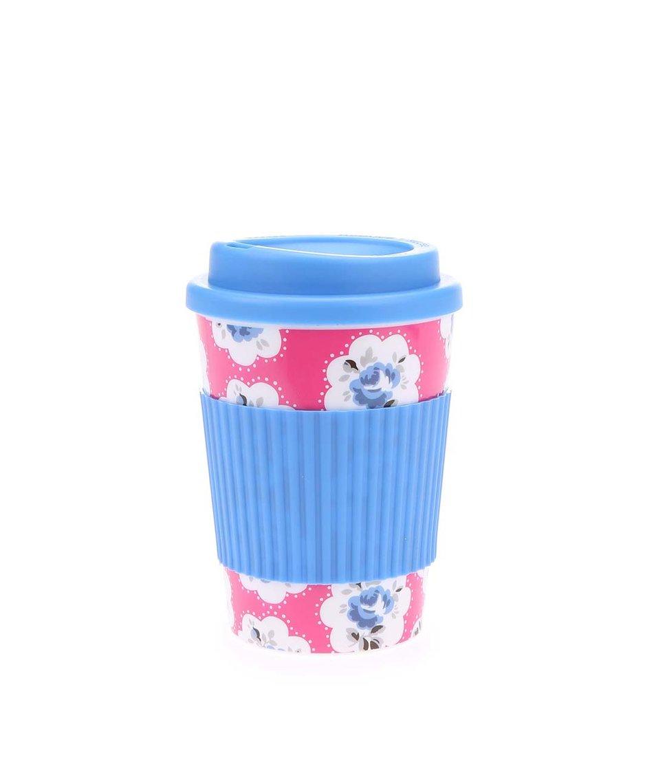 Růžovo-modrý cestovní hrnek s motivem květin Cath Kidston