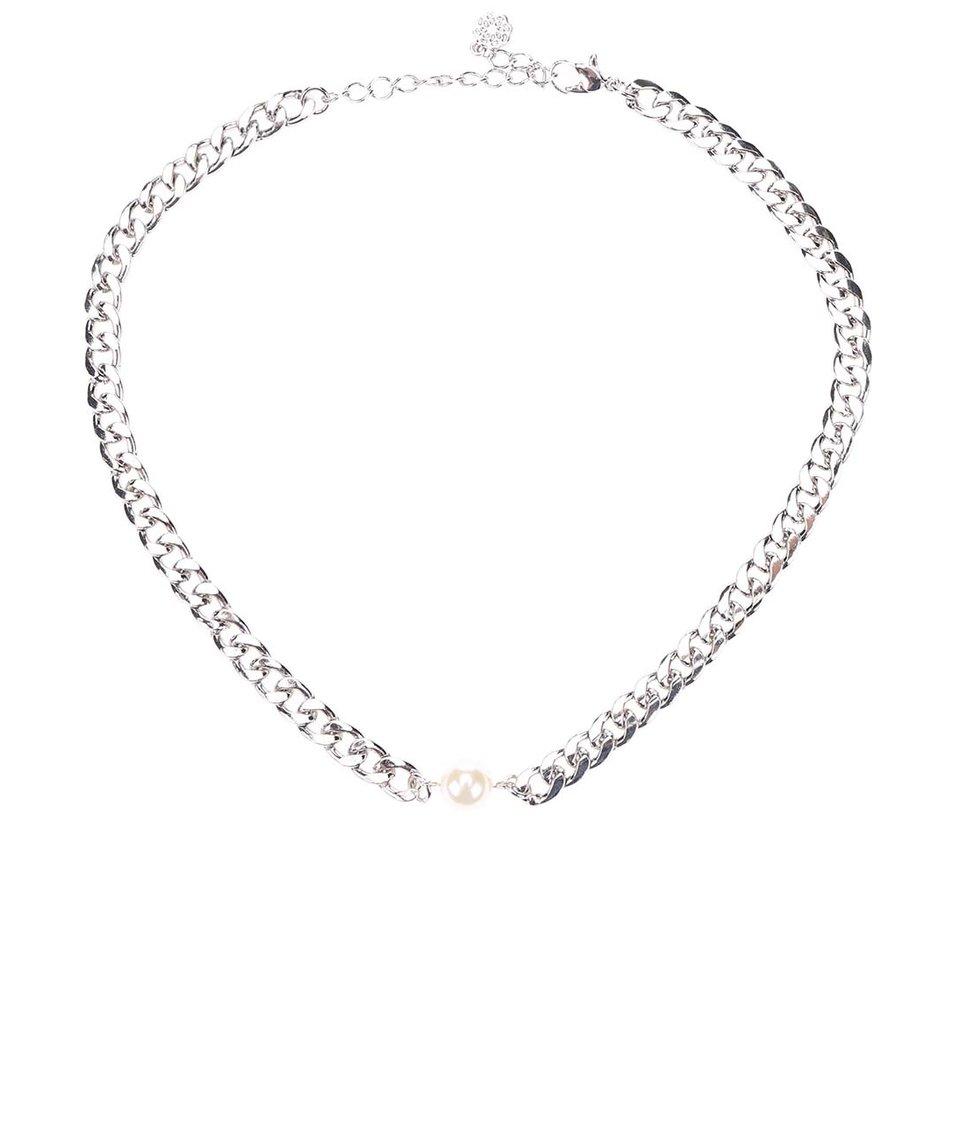 Náhrdelník ve stříbrné barvě s perlou Pieces Enija