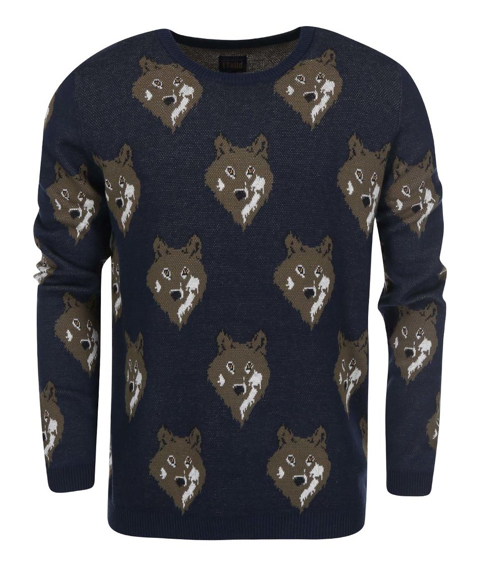 Tmavě modrý svetr s vlky !Solid Spurgeon