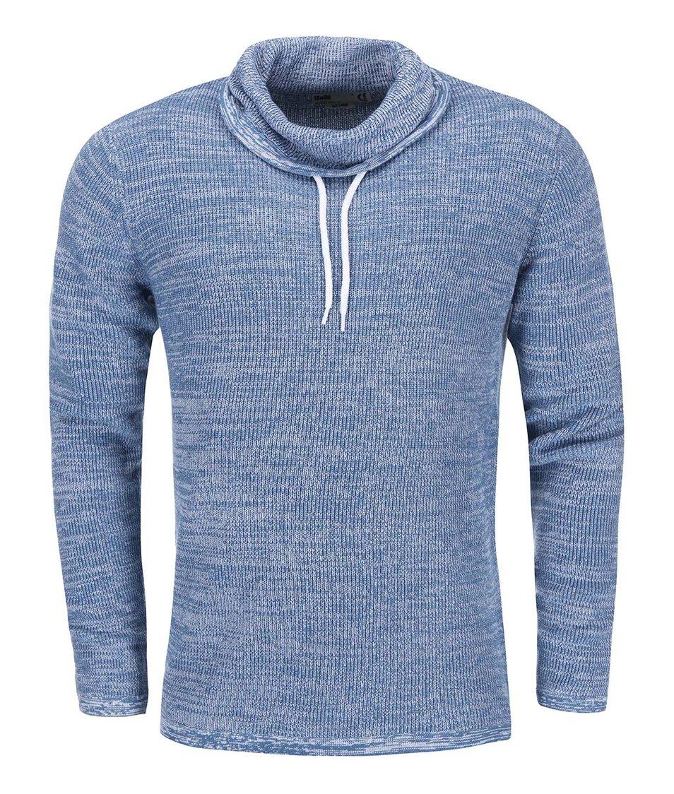 Modrý žíhaný svetr s límcem !Solid Regis