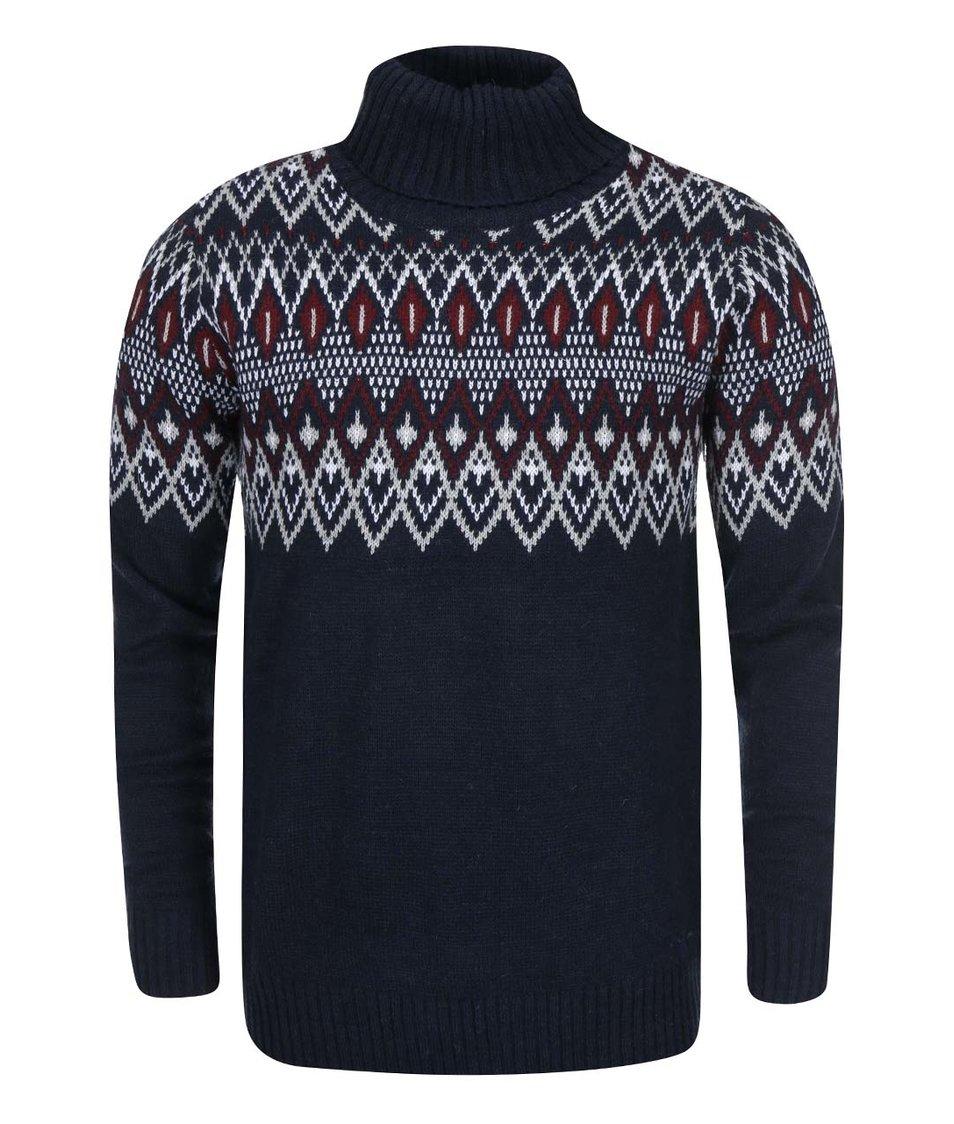Tmavě modrý svetr s rolákem !Solid Raban