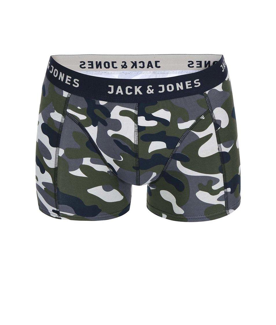 Zeleno-modré maskáčové boxerky Jack & Jones Colour Camo