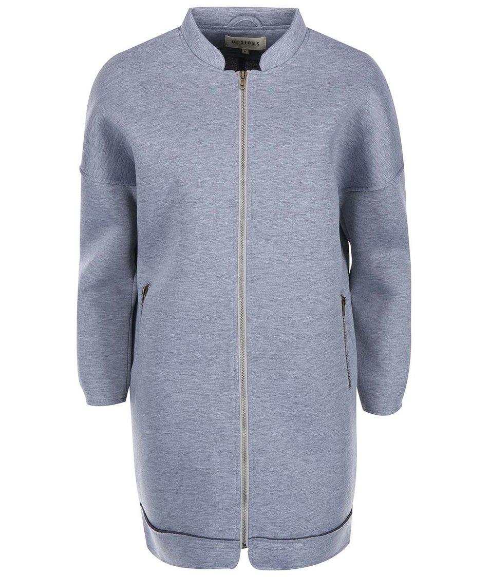 Světle šedý dámský žíhaný kabát na zip Desires Lingus