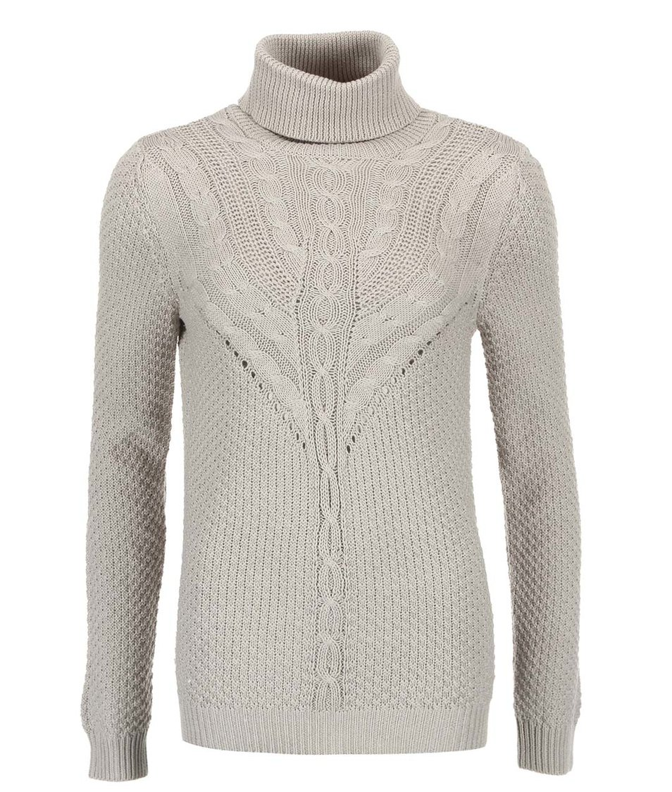 Světle šedý pletený svetr se vzorem VILA Lilla