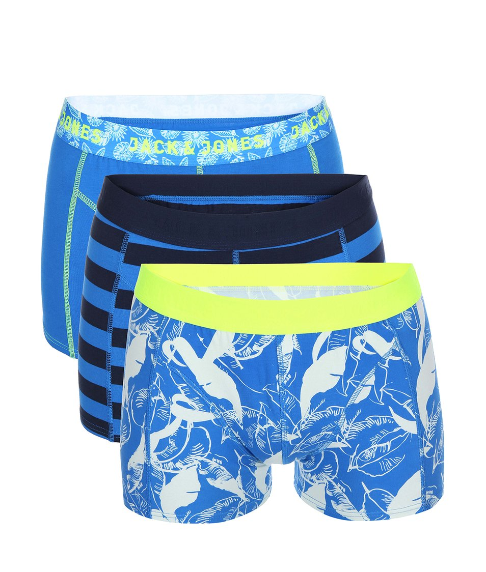 Sada tří modrých vzorovaných boxerek Jack & Jones Blue Flower