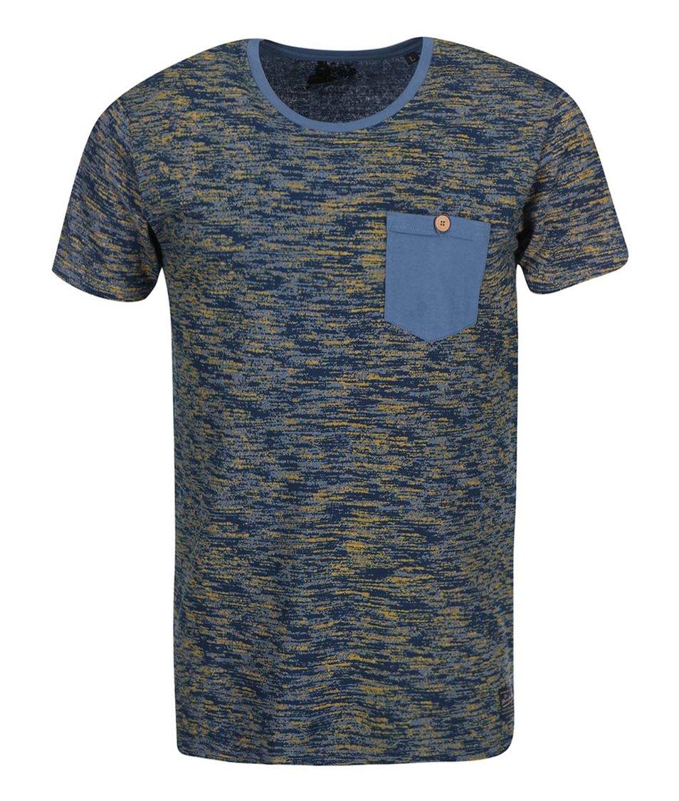 Modré žíhané triko s náprsní kapsou !Solid Severin