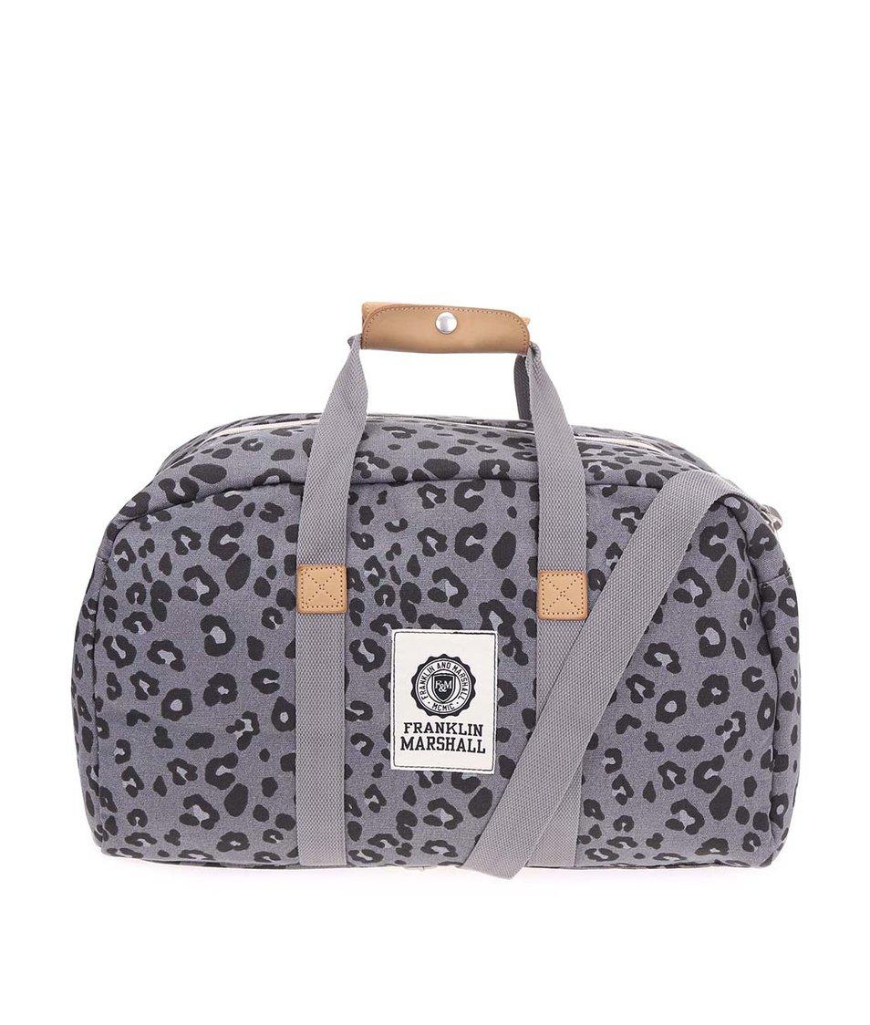 Šedá velká dámská taška s leopardím vzorem Franklin & Marshall