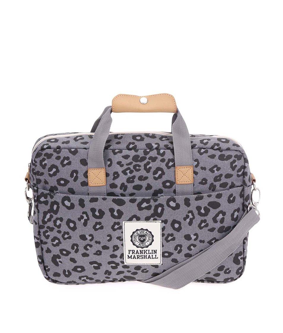 Šedá dámská leopardí taška na notebook Franklin & Marshall
