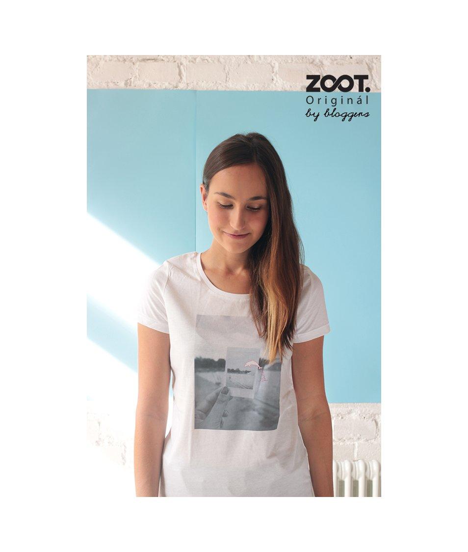 Bílé dámské tričko A CUP OF STYLE Delfín