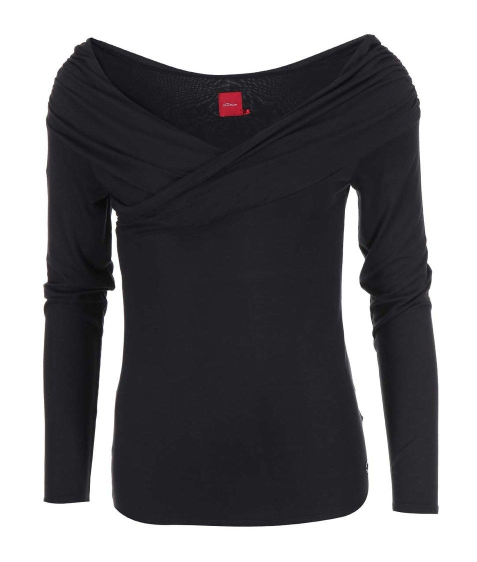 Černé triko s širokým výstřihem Skunkfunk Amade