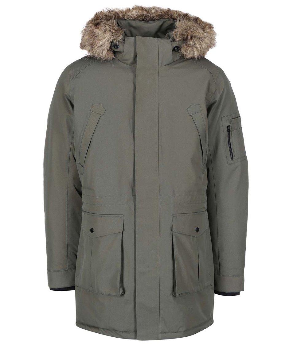Zelená zimní bunda s kapucí Selected Cole