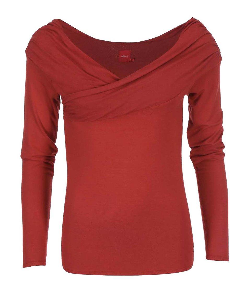 Červené triko s širokým výstřihem Skunkfunk Amade