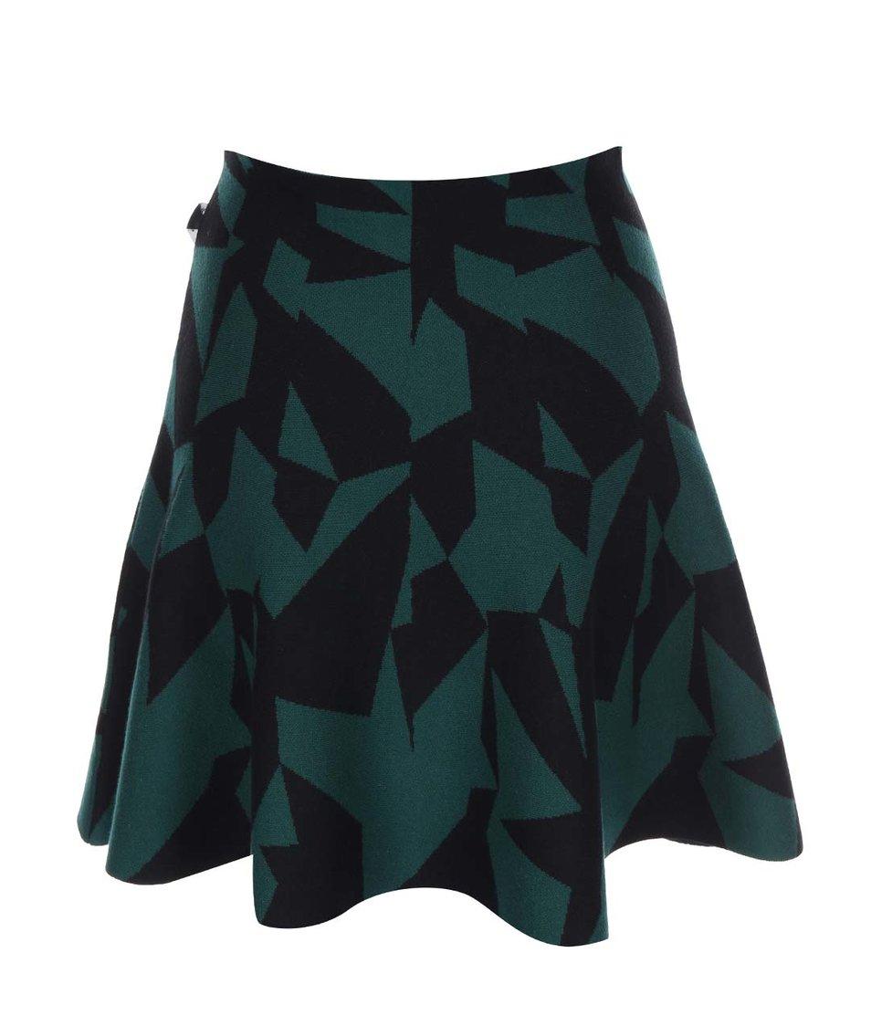 Černo-zelená pletená sukně se vzory Skunkfunk Entzia