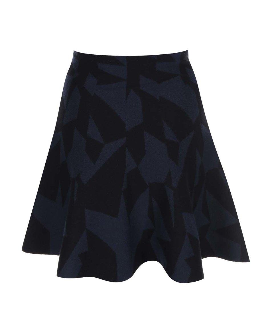 Černo-modrá pletená sukně se vzory Skunkfunk Entzia
