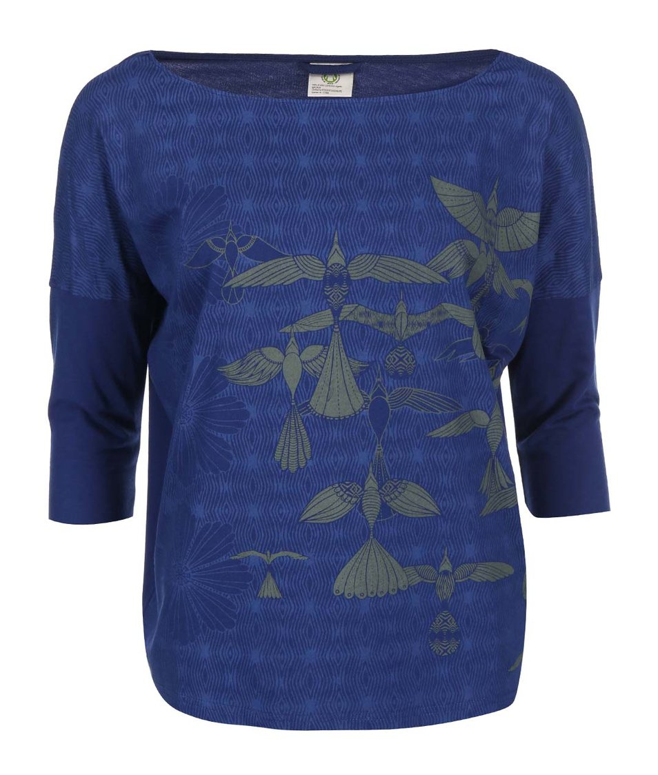 Modré triko s potiskem a 3/4 rukávem Skunkfunk Joella