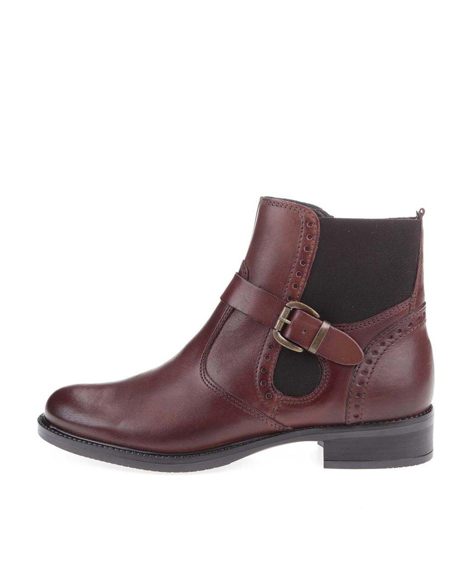 Hnědé kožené kotníkové boty s pásky Tamaris
