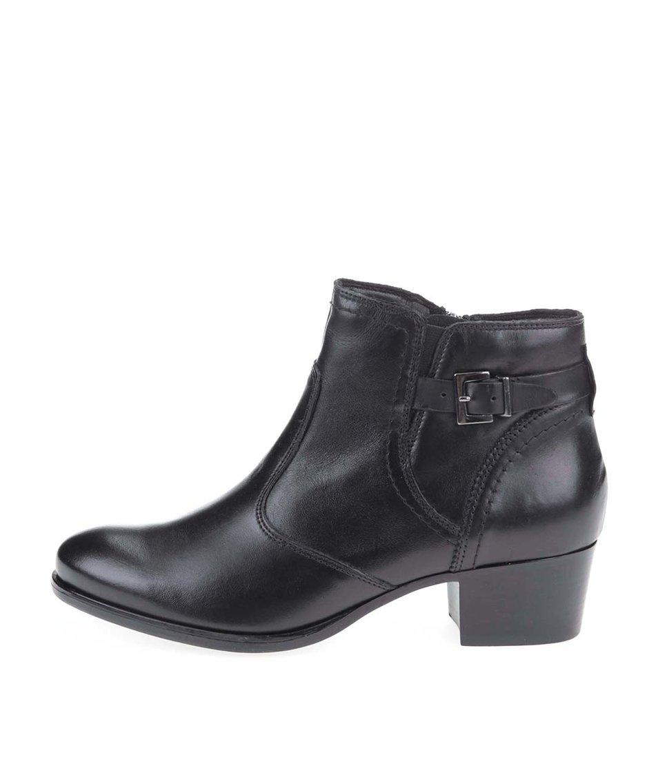 Černé kožené kotníkové boty s pásky Tamaris