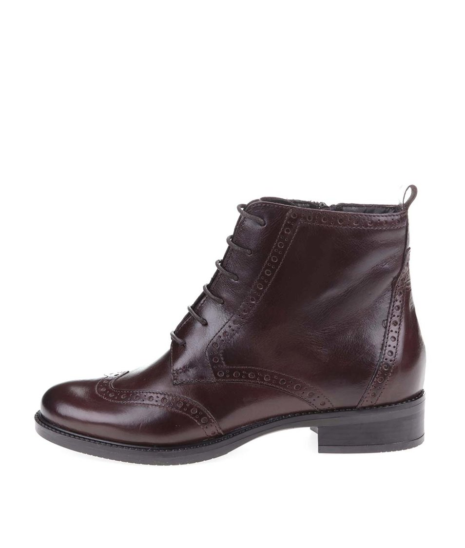 Hnědé kožené šněrovací boty Tamaris