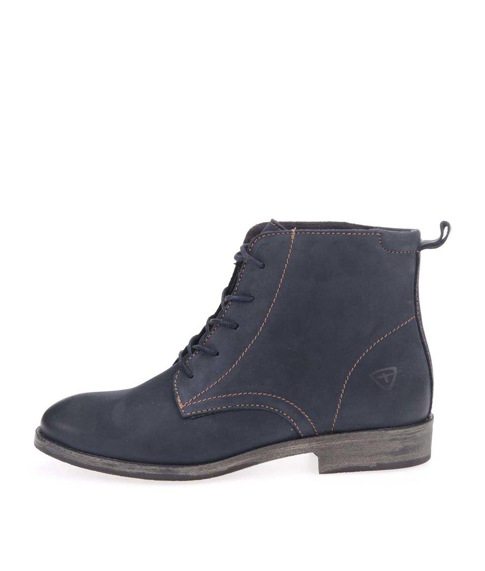 Modré kožené šněrovací boty Tamaris