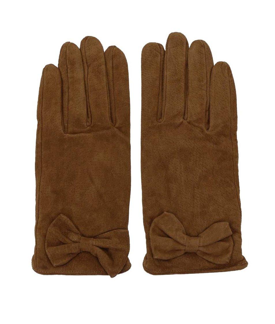Hnědé kožené rukavice s mašličkou Pieces Comet