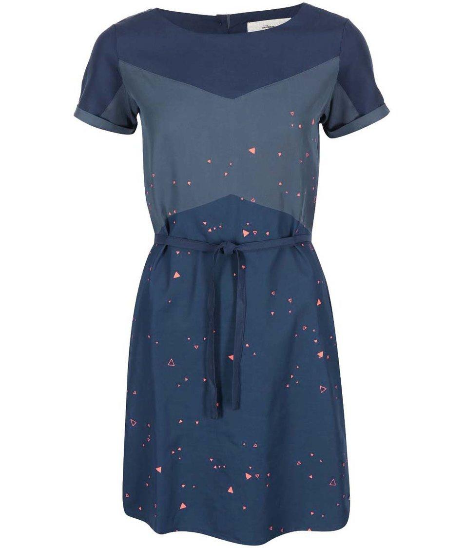 Modré šaty s trojúhelníčky Skunkfunk Jessamine
