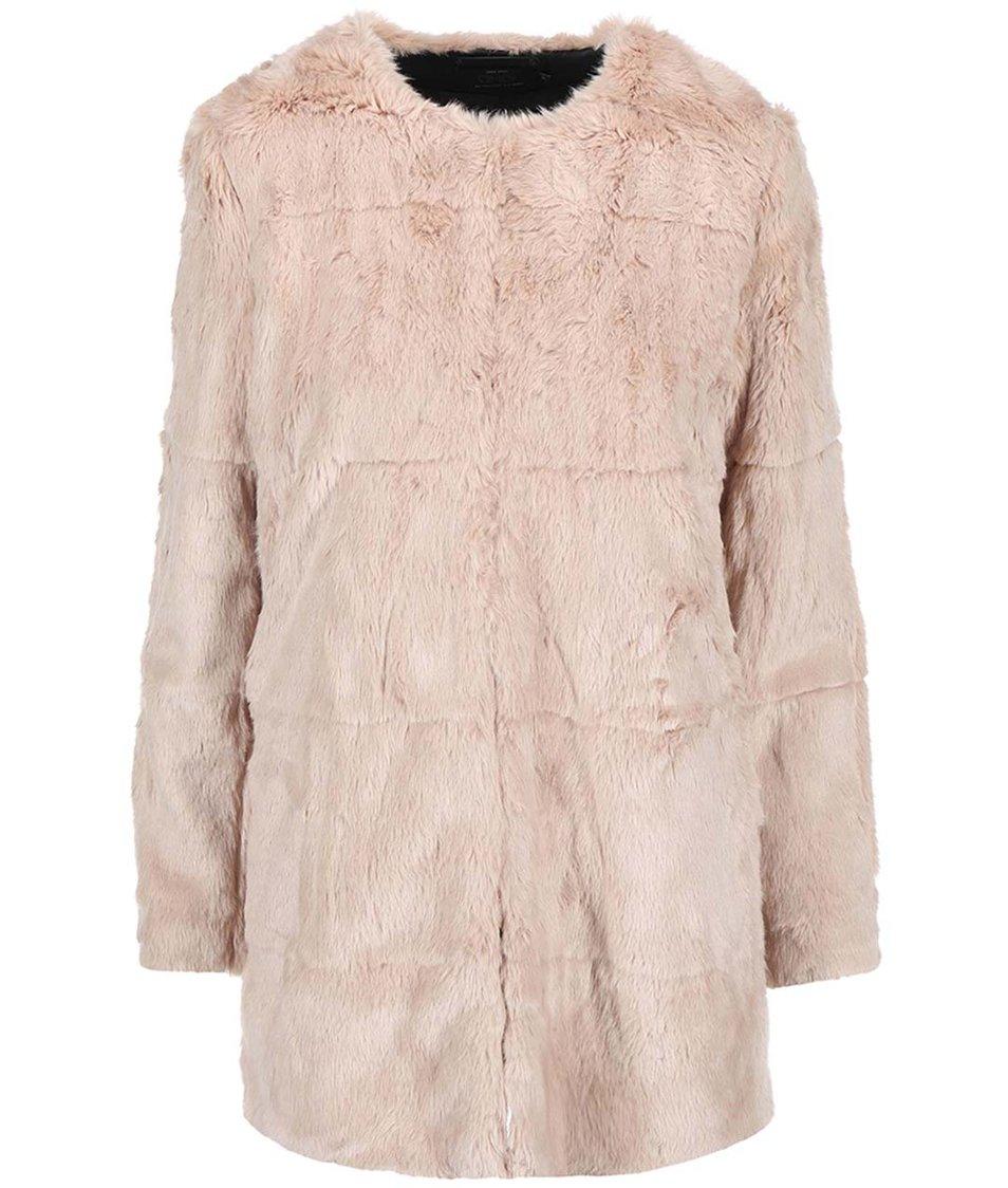 Béžový kabát s kožíškem ONLY Banks