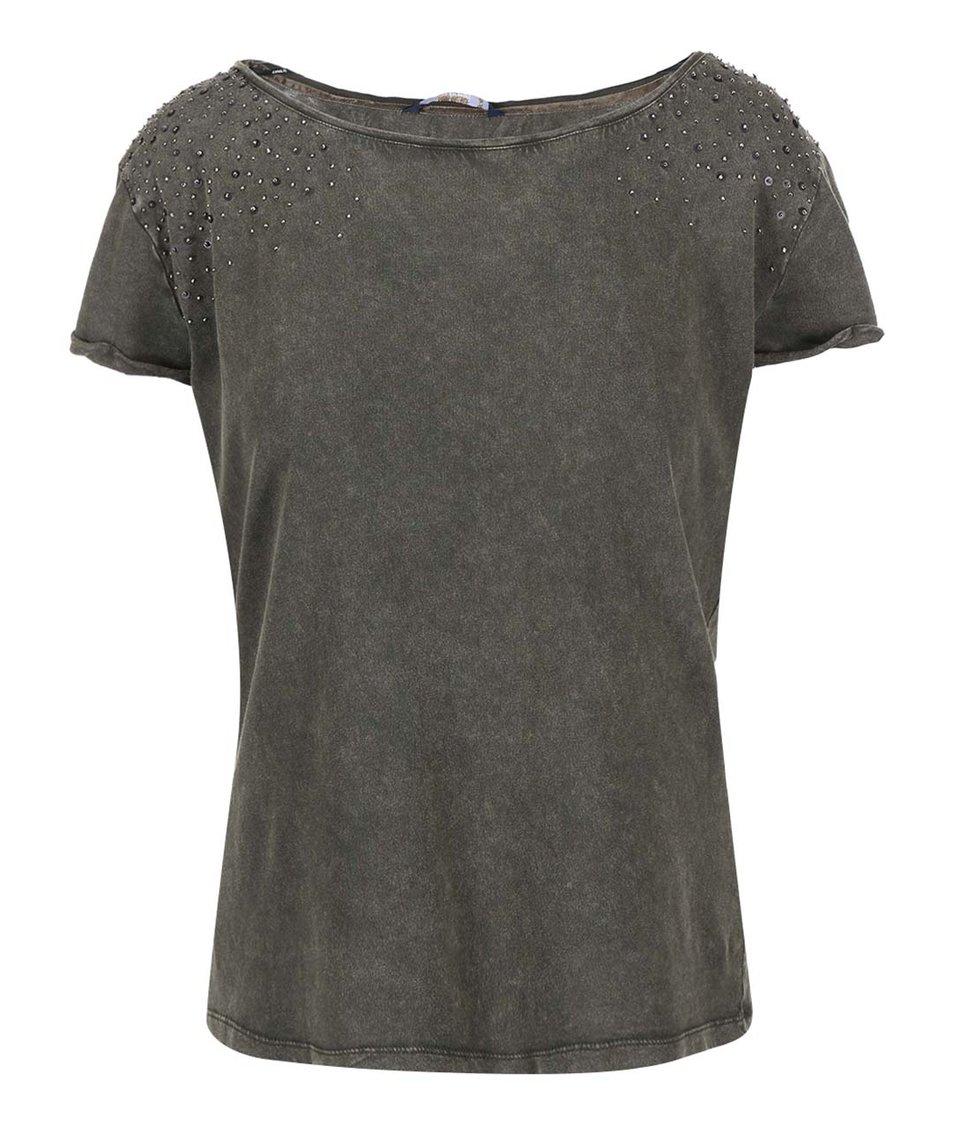 Khaki tričko s kovovými aplikacemi ONLY Elif