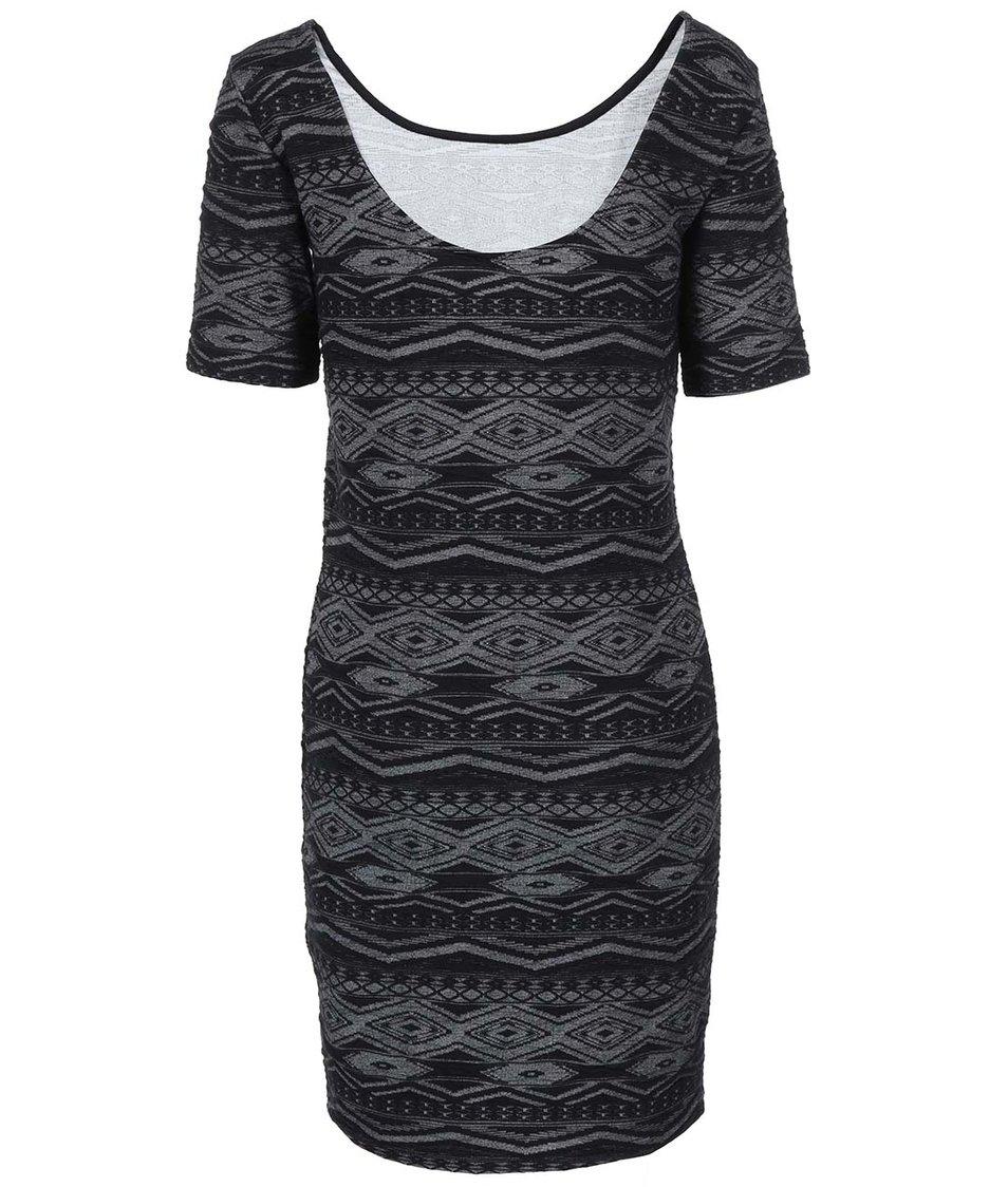 Šedo-černé vzorované šaty ONLY Vigga