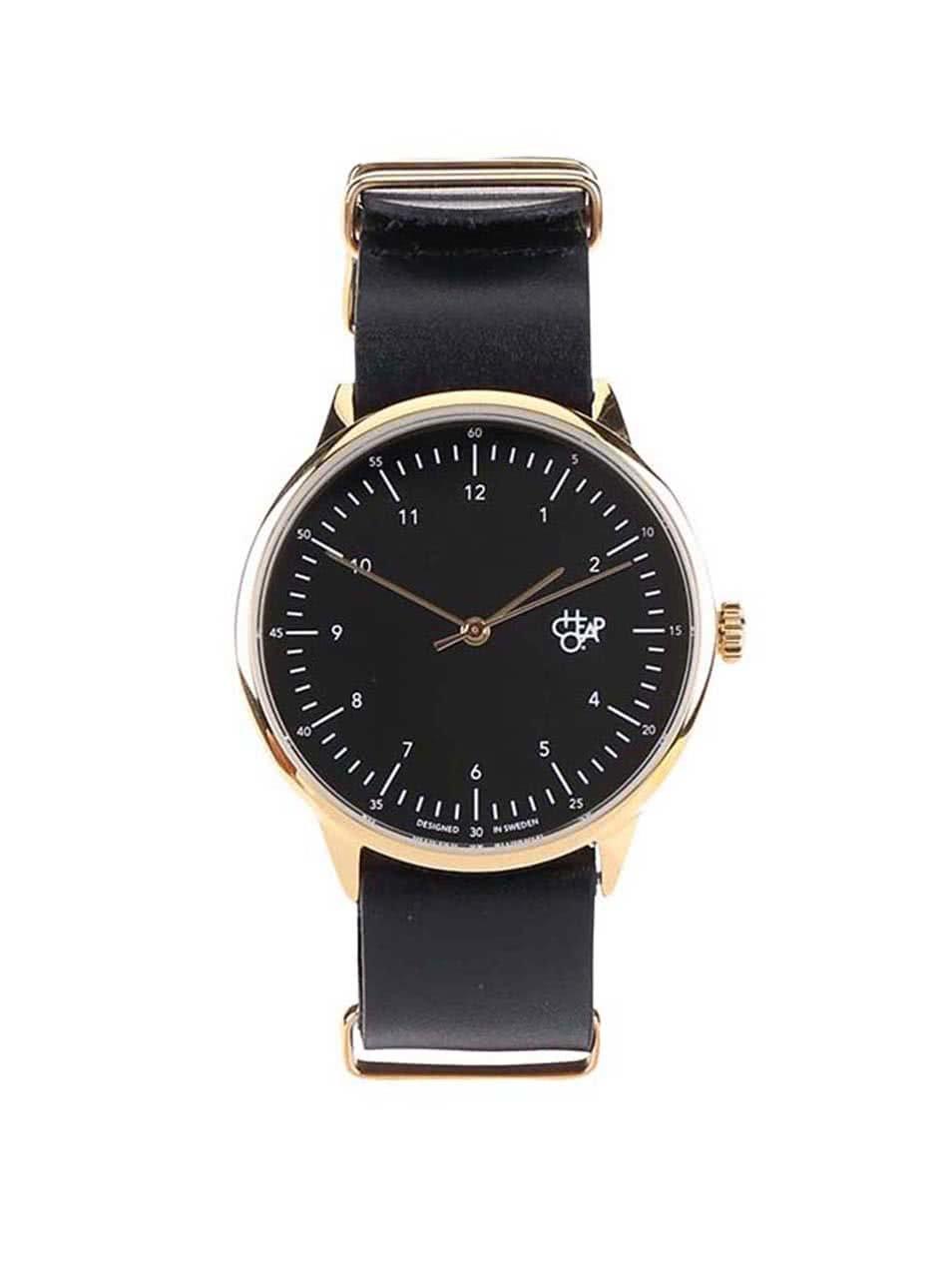 Černé unisex hodinky s koženým páskem Cheapo Harold Gold 407e21cea0