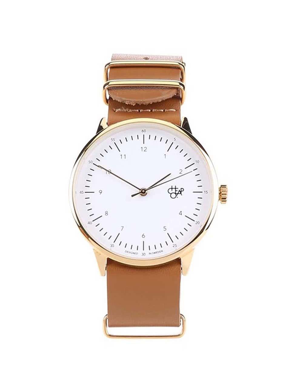 Hnědé unisex hodinky s koženým páskem Cheapo Harold Gold 28b1b02a47