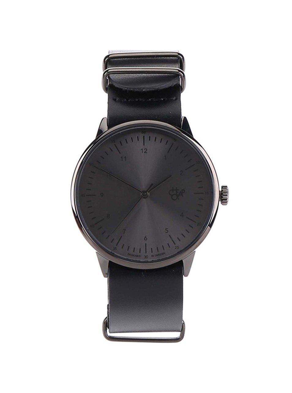 Černé unisex kožené hodinky Cheapo Harold Metal 8f36ba41b2
