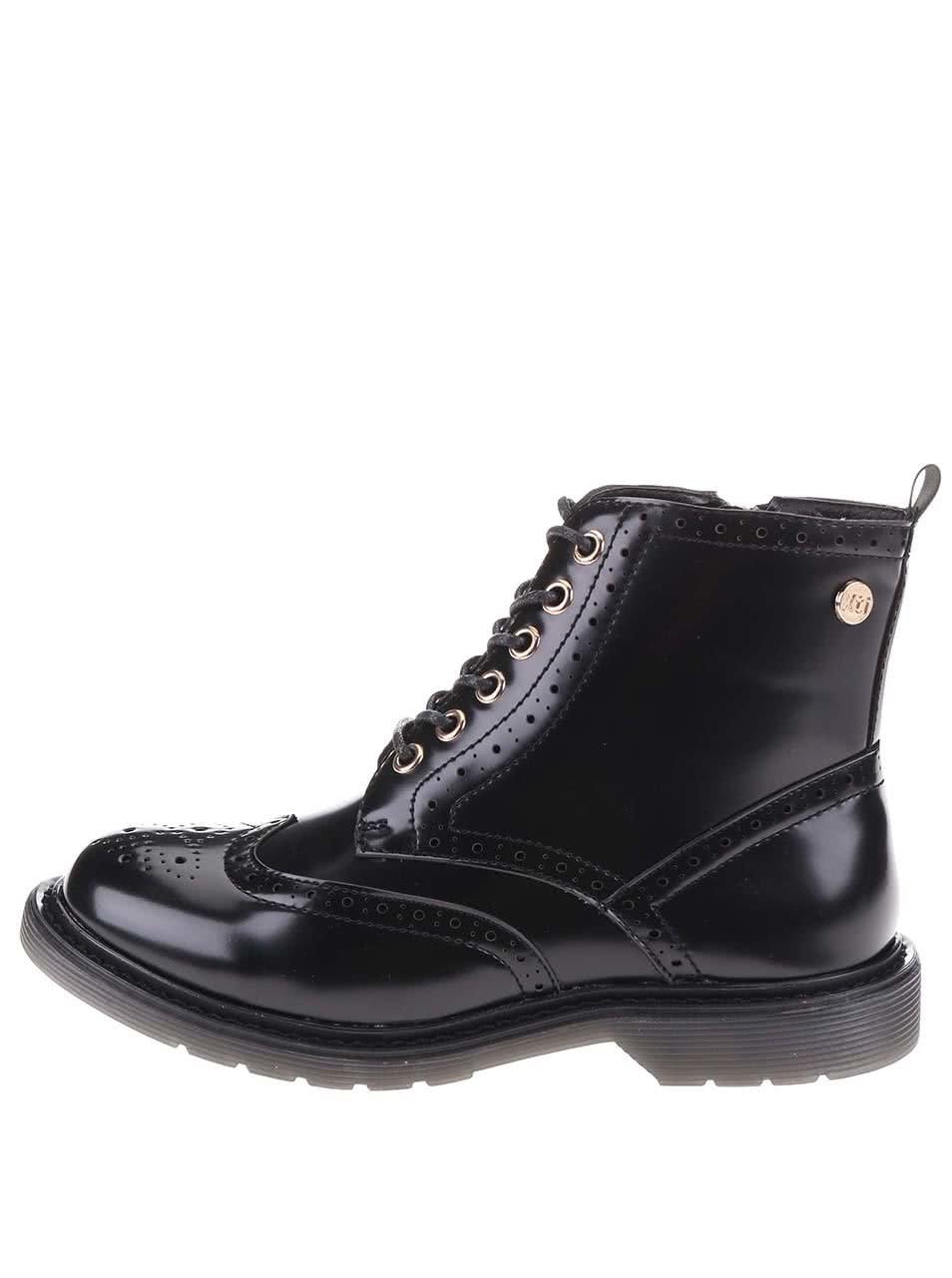 Černé vyšší šněrovací brogue boty Xti 586a036fac