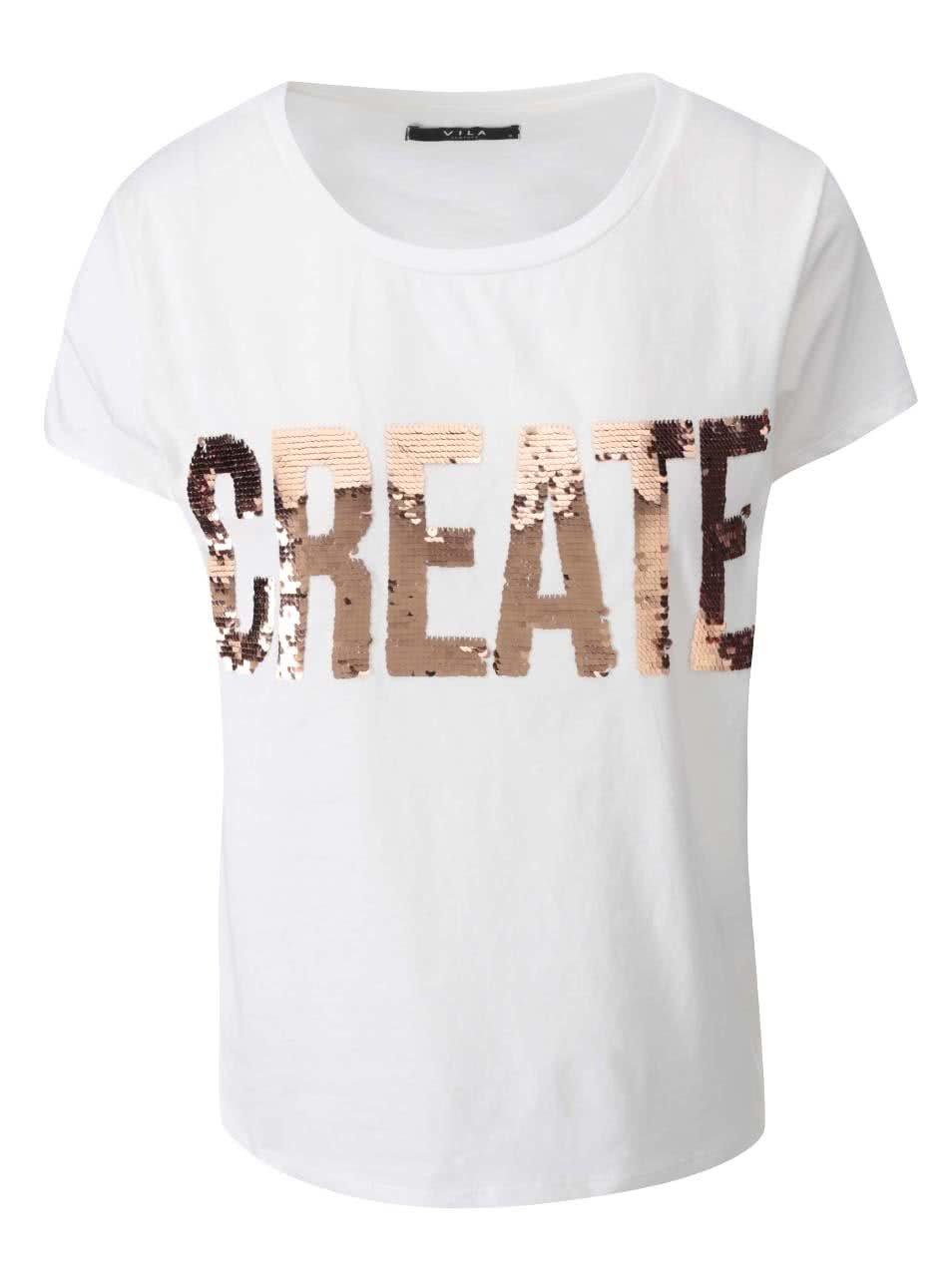 19f8634654bf Bílé tričko s nápisem VILA Create