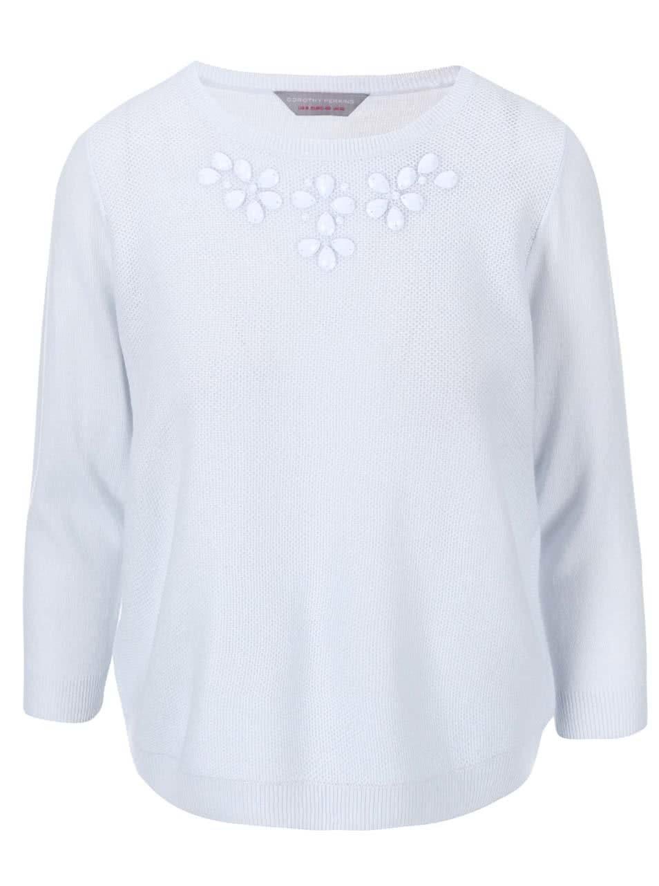Světle modrý svetr s korálky u výstřihu Dorothy Perkins 25be9c4cea
