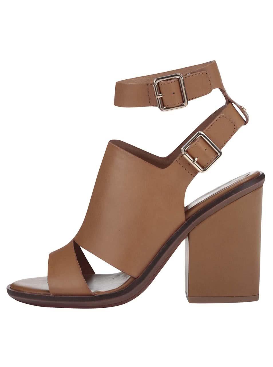 c2a2167be11 Hnědé kožené sandály na podpatku ALDO Callie