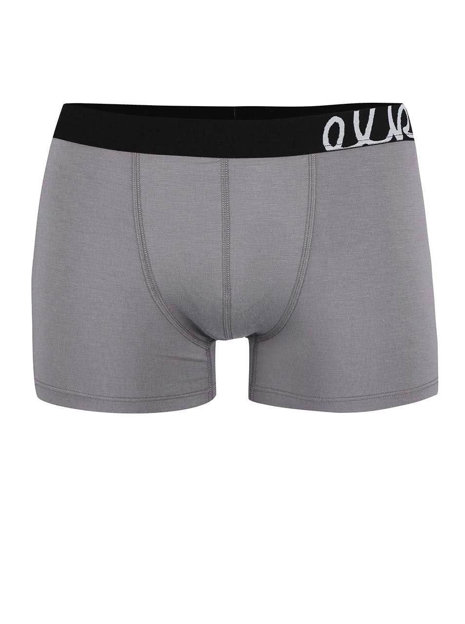 8d38e597ce9 Šedé boxerky s černou gumou El.Ka Underwear
