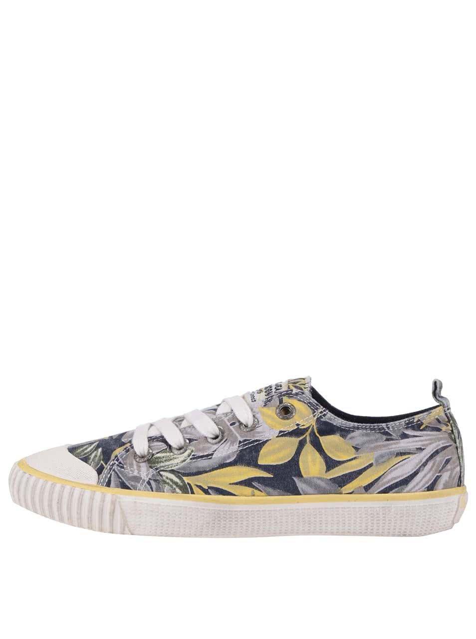 Žluto-modré dámské květované tenisky Pepe Jeans 29165b4eab4