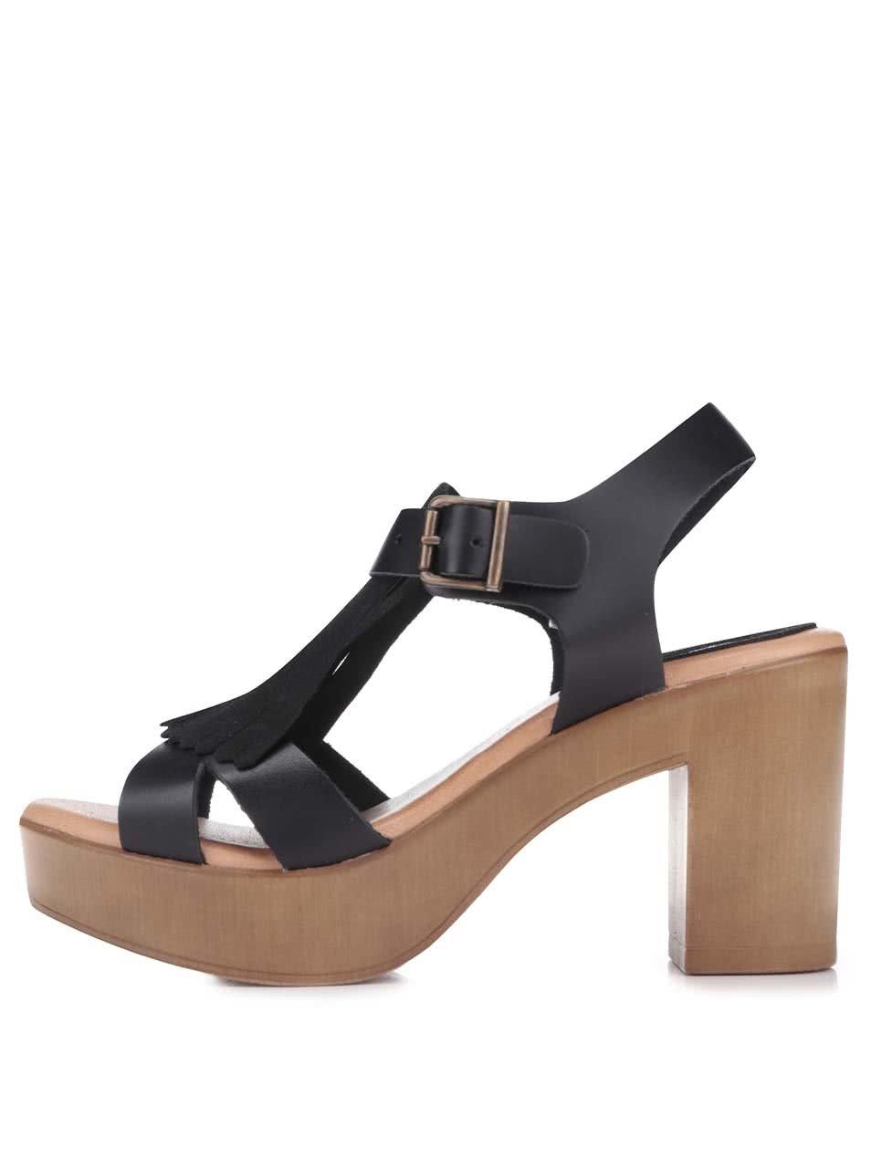 88751f36aaa Černé kožené sandály na podpatku OJJU