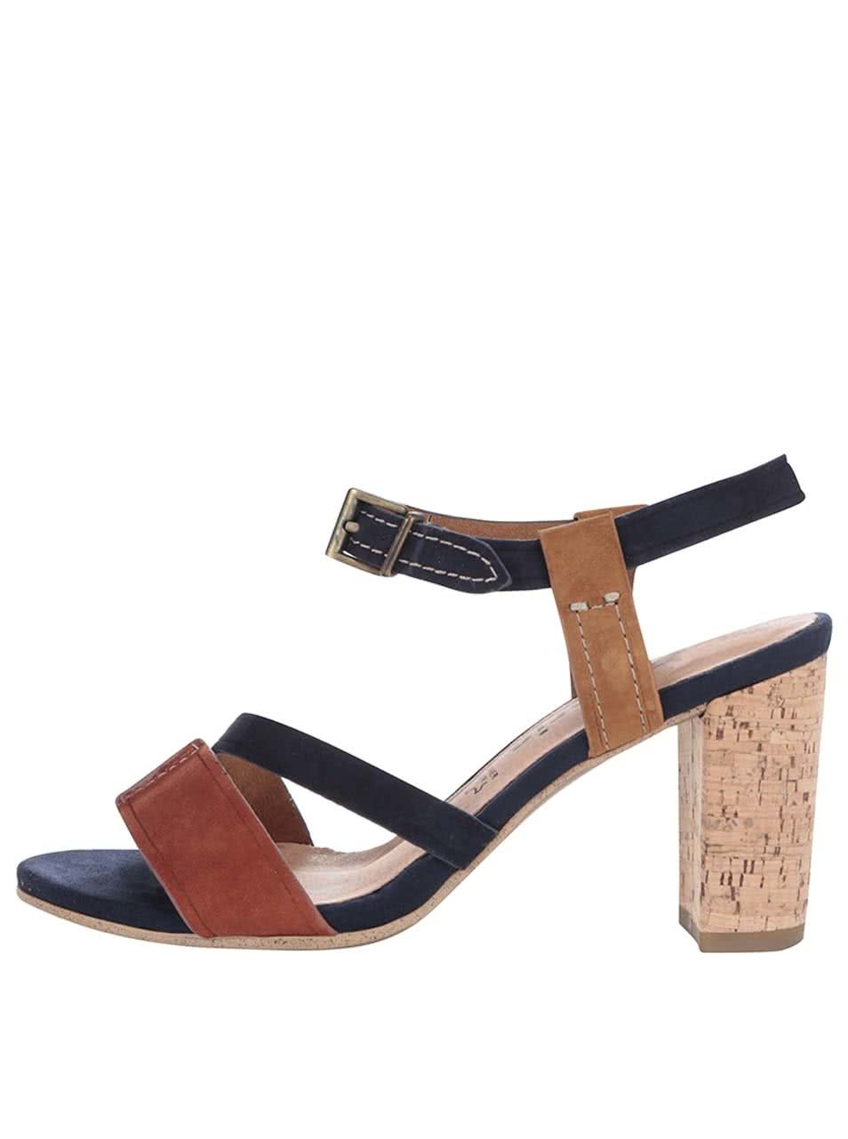 Hnědo-modré kožené boty na podpatku Tamaris 0f9c6b8435