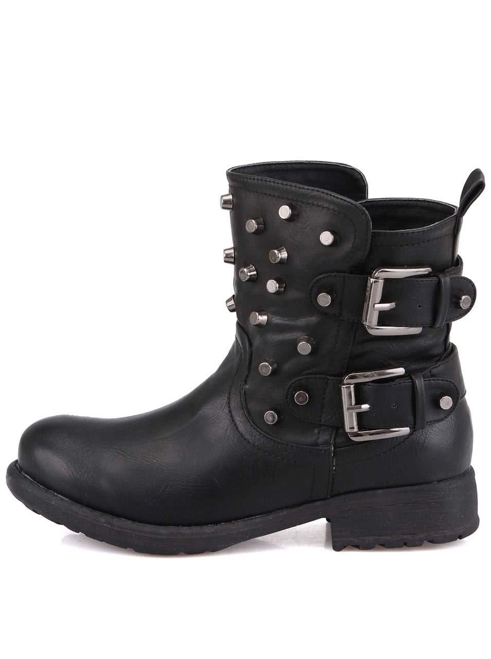 Černé dámské kotníkové boty s cvočky London Rebel Soldier 25b8540bf4