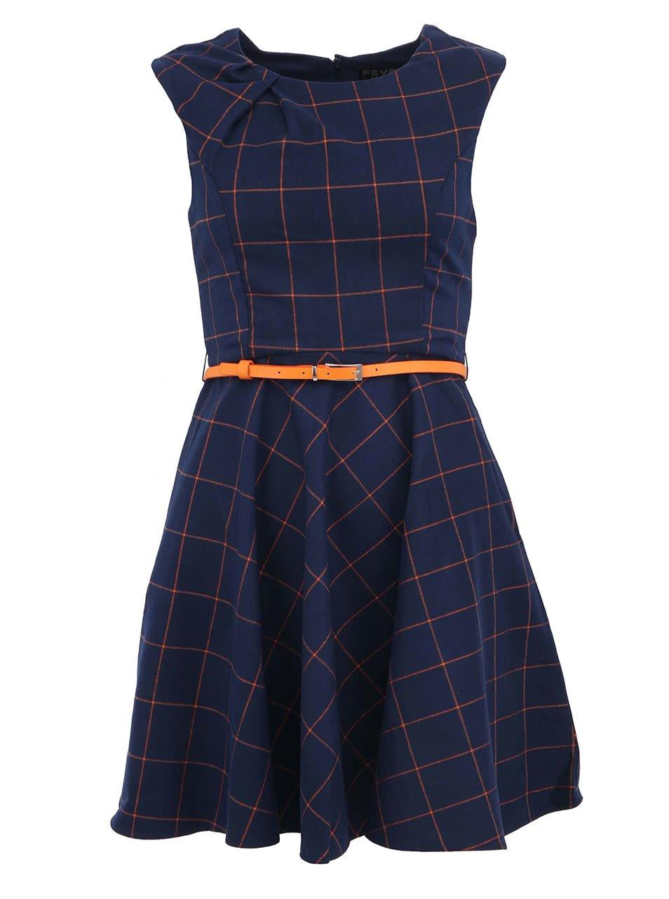 Tmavě modré kostkované šaty s páskem Fever London Kasparov 0eb1499278