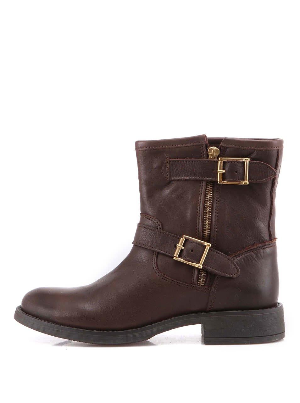 Tmavě hnědé kožené boty s přezkami Pieces Iza c0961f48cc