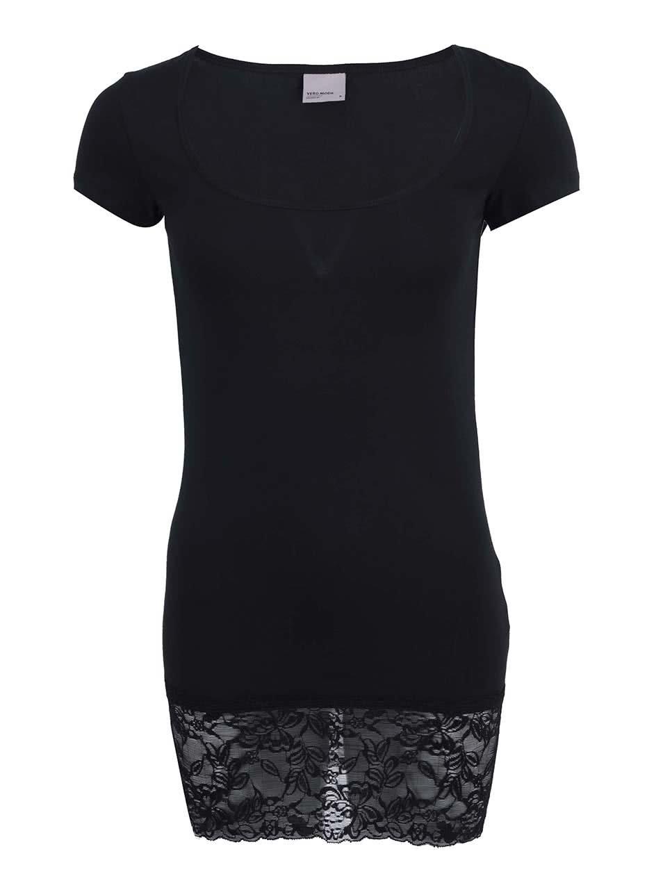 Černé delší tričko s krajkovaným lemem Vero Moda Maxi My af039a355e